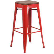 "30"" High Backless Red Metal Barstool with Square Wood Seat"