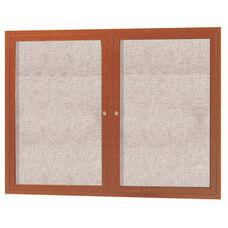 2 Door Outdoor Enclosed Bulletin Board with Aluminum Wood-Look Oak Finish - 36''H x 48''W