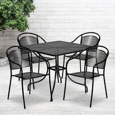 "Commercial Grade 35.5"" Square Black Indoor-Outdoor Steel Patio Table Set with 4 Round Back Chairs"
