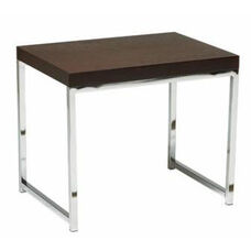 Ave Six Wall Street Wood Veneer End Table with Chrome Finished Steel Base - Espresso