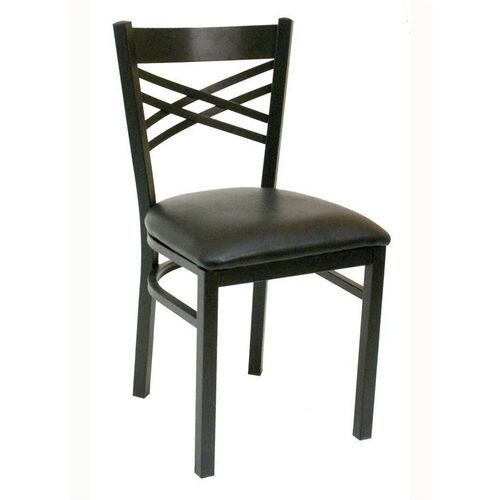 Our Quick Ship Lattice Back Metal Dining Chair - Black Vinyl Seat is on sale now.