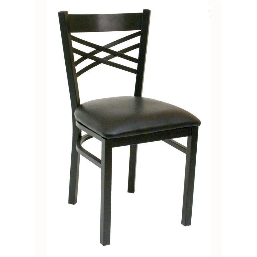 Quick Ship Lattice Back Metal Dining Chair   Black Vinyl Seat