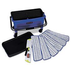 Rubbermaid® Commercial Microfiber Floor Finishing System - 27gal - Blue/Black/White