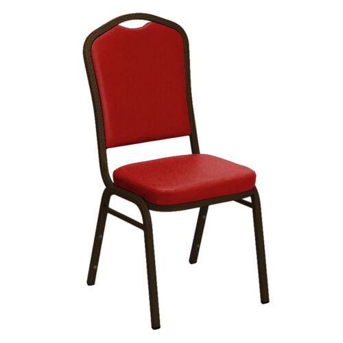 Our Embroidered Crown Back Banquet Chair in E-Z Sierra Red Vinyl - Gold Vein Frame is on sale now.