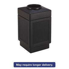 Safco® Canmeleon Top-Open Receptacle - Square - Polyethylene - 38gal - Textured Black