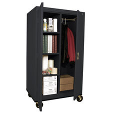 Transport Series 36'' W x 24'' D x 66'' H Mobile Combination Storage Cabinet with Sectioned Interior - Black