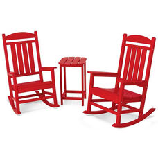 POLYWOOD® Presidential Rocker 3-Piece Set - Vibrant Sunset Red