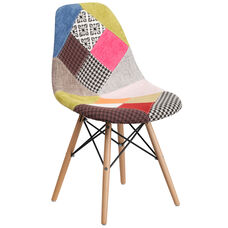 Elon Series Milan Patchwork Fabric Chair with Wood Base