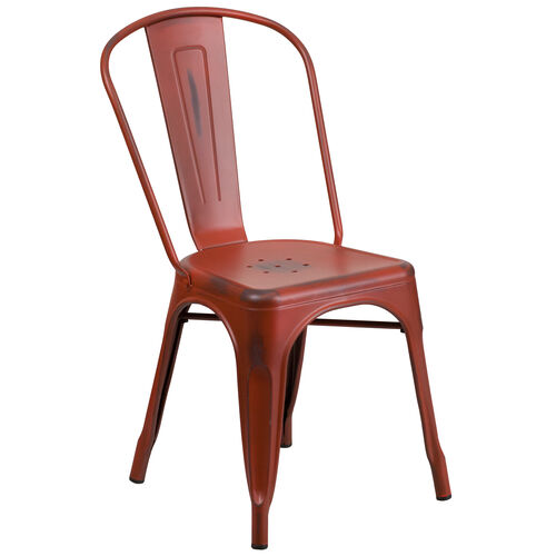 Our Commercial Grade Distressed Kelly Red Metal Indoor-Outdoor Stackable Chair is on sale now.