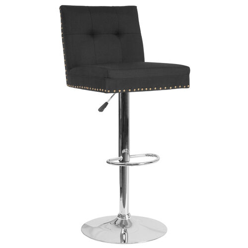 Ravello Contemporary Adjustable Height Barstool with Accent Nail Trim in Black Fabric