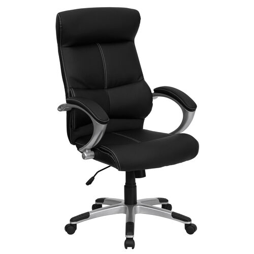 Our High Back Black LeatherSoft Executive Swivel Office Chair with Curved Headrest and White Line Stitching is on sale now.