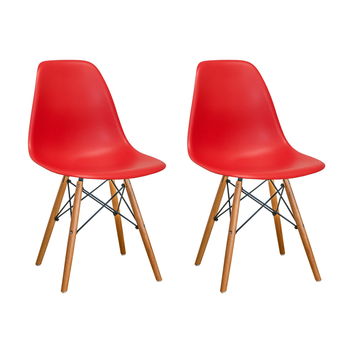Our Paris Tower Side Chair With Wood Legs And Red Seat   Set Of 2 Is