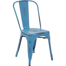 OSP Designs Bristow Stackable Armless Metal Chair - Set of 4 - Antique Royal Blue
