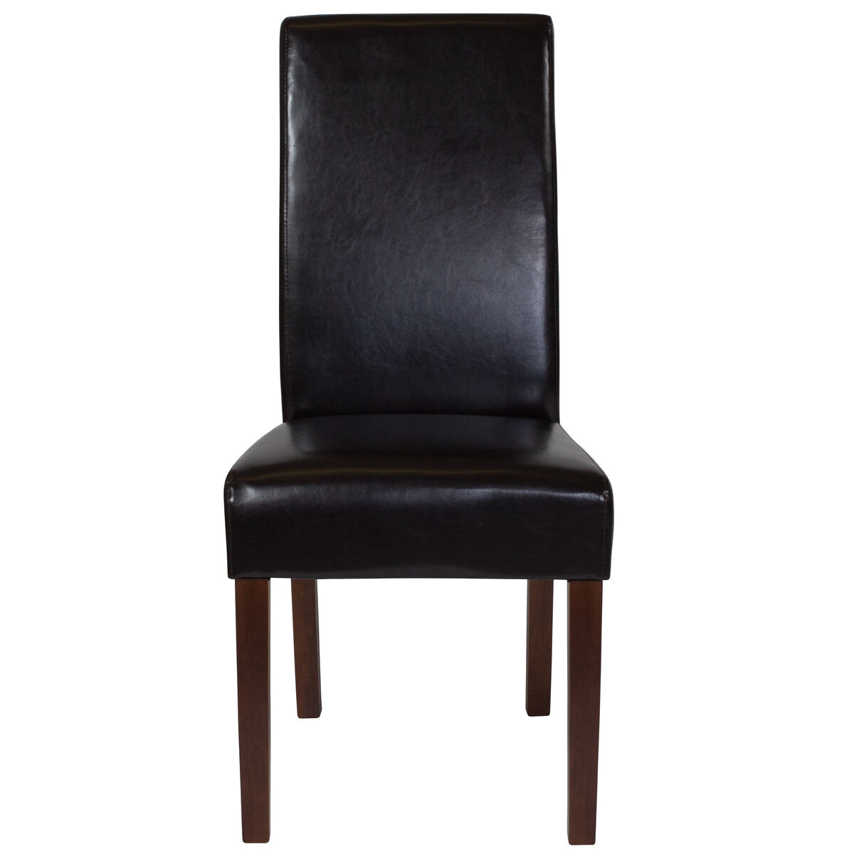 Brown Leather Parsons Chair Qy A37 9061 Brnl Gg