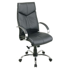 Pro-Line II Deluxe High Back Executive Leather Chair with Padded Chrome Arms - Black