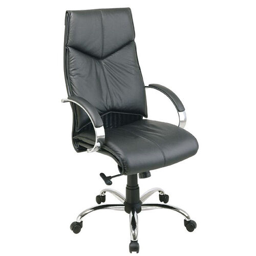 Our Pro-Line II Deluxe High Back Executive Leather Chair with Padded Chrome Arms - Black is on sale now.
