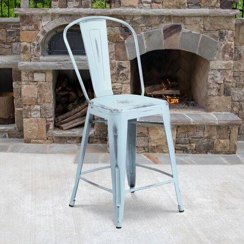 """Commercial Grade 24"""" High Distressed Green-Blue Metal Indoor-Outdoor Counter Height Stool with Back"""