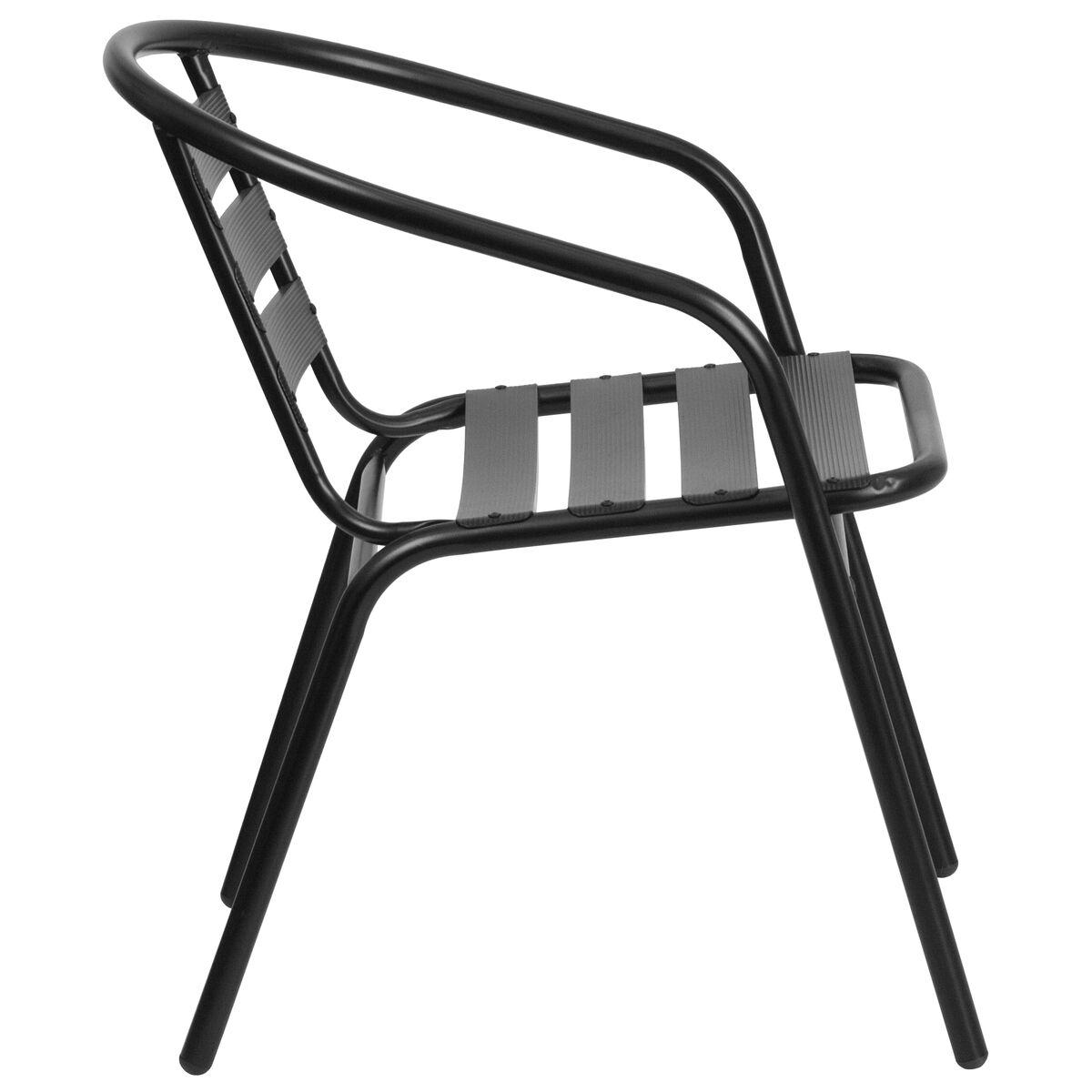 black chair w aluminum slats tlh 017c bk gg