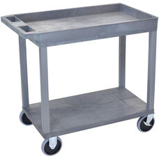 Heavy Duty Molded Thermoplastic Resin 1 Tub/1 Flat Shelf Utility Cart with 5