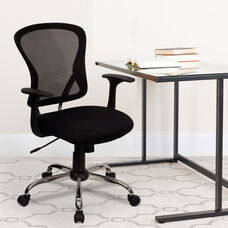 Mid-Back Black Mesh Swivel Task Office Chair with Chrome Base and Arms