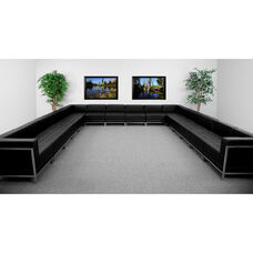 HERCULES Imagination Series Black LeatherSoft U-Shape Sectional Configuration, 16 Pieces