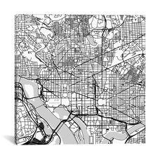 Washington D.C. Urban Roadway Map by Urbanmap - White Gallery Wrapped Canvas Artwork