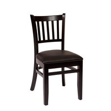 Delran Black Wood Slat Back Chair - Vinyl Seat