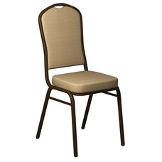 Embroidered Crown Back Banquet Chair in Biltmore Golden Fabric - Gold Vein Frame