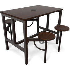 Endure 48''W Steel Frame Table with 4 Swivel Seats - Walnut Table Top and Walnut Seats
