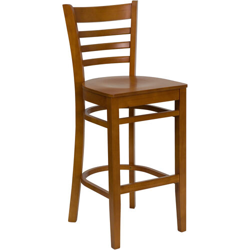 Our Cherry Finished Ladder Back Wooden Restaurant Barstool is on sale now.