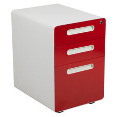 Ergonomic 3-Drawer Mobile Locking Filing Cabinet with Anti-Tilt Mechanism and Hanging Drawer for Legal & Letter Files, White with Red Faceplate