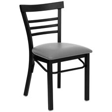 HERCULES Series Black Three-Slat Ladder Back Metal Restaurant Chair - Custom Upholstered Seat