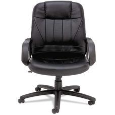 Alera® Sparis Series Executive High-Back Swivel/Tilt Chair - Leather - Black