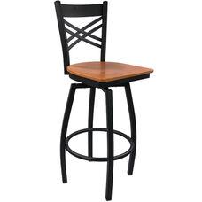 Advantage Cross Back Metal Swivel Bar Stool - Cherry Wood Seat