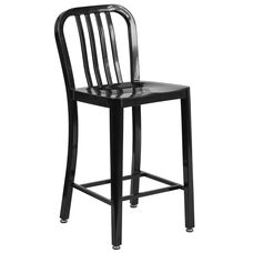 "Commercial Grade 24"" High Black Metal Indoor-Outdoor Counter Height Stool with Vertical Slat Back"