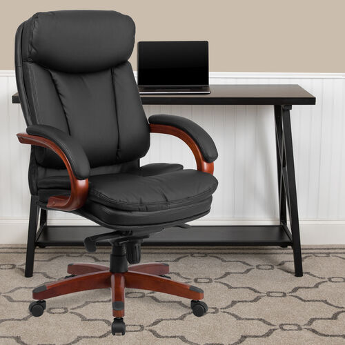 Our High Back Black LeatherSoft Executive Ergonomic Office Chair with Synchro-Tilt Mechanism, Mahogany Wood Base and Arms is on sale now.