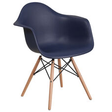 Alonza Series Navy Plastic Chair with Wood Base