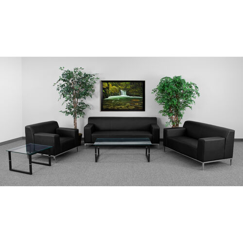 """HERCULES Definity Series Reception Set in Black LeatherSoft with <span style=""""color:#0000CD;"""">Free </span> Tables"""