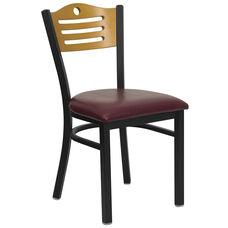 Black Slat Back Metal Restaurant Chair with Natural Wood Back & Burgundy Vinyl Seat