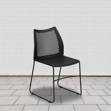 HERCULES Series 661 lb. Capacity Black Stack Chair with Air-Vent Back and Black Powder Coated Sled Base