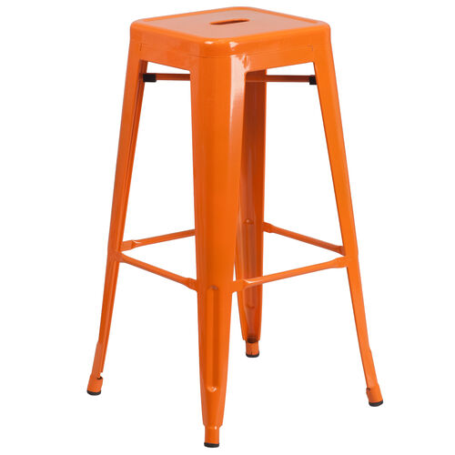 """Our Commercial Grade 30"""" High Backless Orange Metal Indoor-Outdoor Barstool with Square Seat is on sale now."""