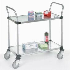 Stainless Steel 2 Shelf Solid Shelf Cart - 18