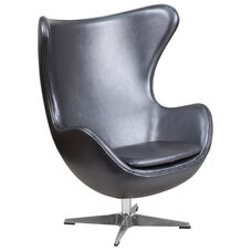 Gray Leather Egg Chair with Tilt-Lock Mechanism
