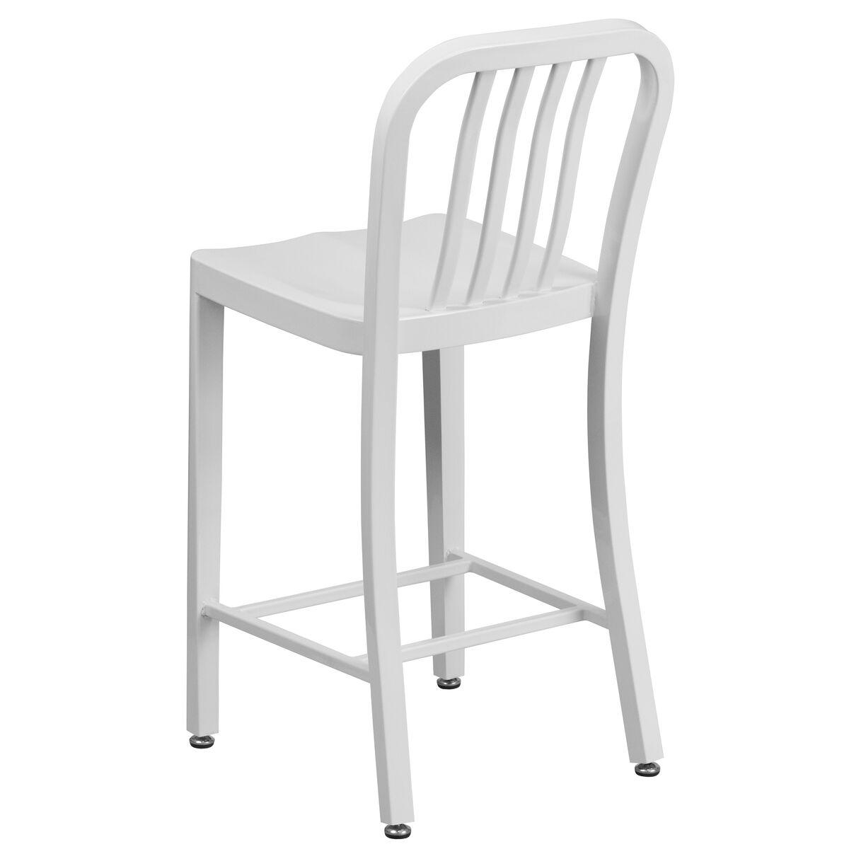 Flash Furniture 24 High White Metal Indoor Outdoor