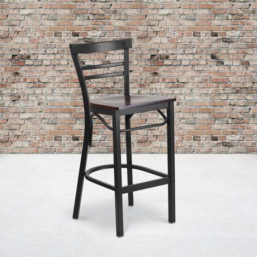 Our HERCULES Series Black Two-Slat Ladder Back Metal Restaurant Barstool - Walnut Wood Seat is on sale now.
