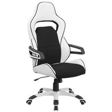 High Back White Vinyl Executive Swivel Chair with Black Fabric Inserts and Arms