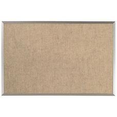 Burlap Weave Vinyl Bulletin Board with Aluminum Clear Satin Anodized Frame - Coffee Cream - 24