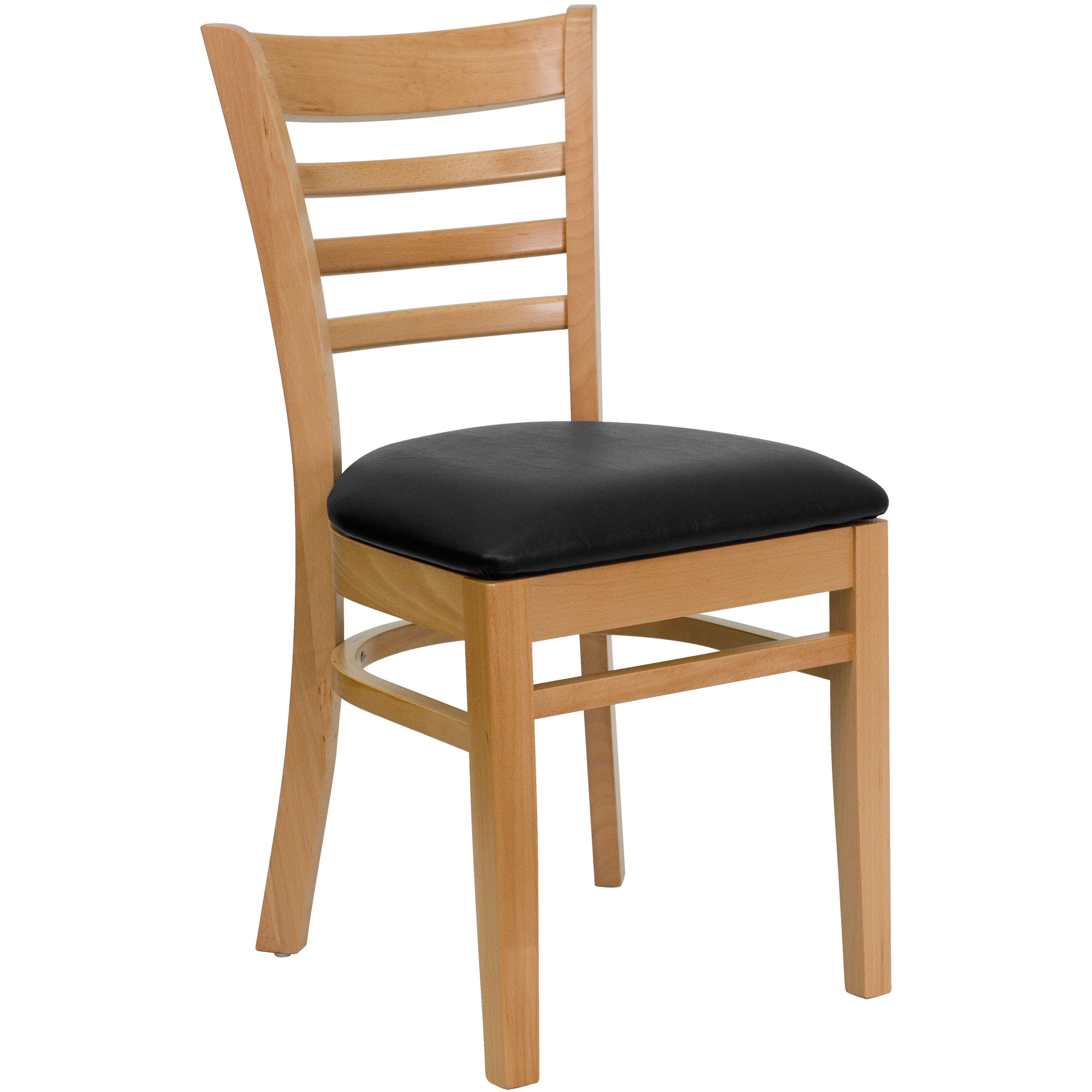 Attirant Natural Wood Finished Ladder Back Wooden Restaurant Chair With Black Vinyl  Seat