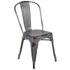 Commercial Grade Distressed Silver Gray Metal Indoor-Outdoor Stackable Chair