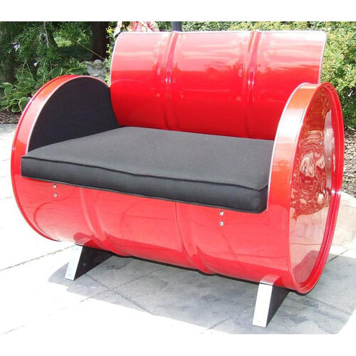 Red Loft Steel Drum Armchair with Black Accents